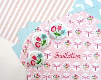 "Invitation card birthday spring ""Dragonflies"" + button flowers"