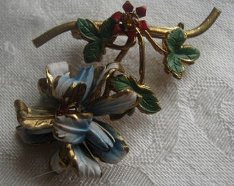 Vintage brooch, made in Austria with enameling and Austrian crystal stones