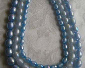 Vintage necklace, 3 strands of very cool opalescent blue plastic beads