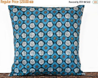 Christmas in July Sale Sand Dollars Pillow Cover Cushion Starfish Coastal Navy Blue Beige Beach Decorative 16x16
