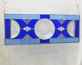 Depression Glass Stained Glass Panel, Vintage 1930s Blue Bubble Plates, Stained Glass Transom Window, Glass Window Valance, Old Window, OOAK