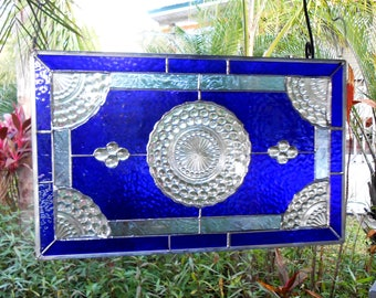 Antique Blue Bubble Depression Glass Plate Stained Glass Transom Window, Unique Window Treatment, Recycled Stained Glass Window Valance Art