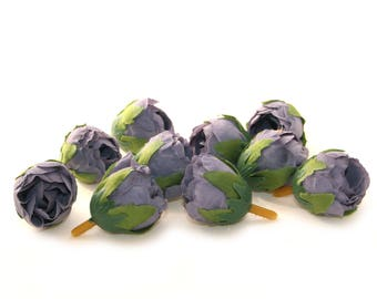 10 Smokey Blue Tea Roses - Artificial Flowers, Silk Roses