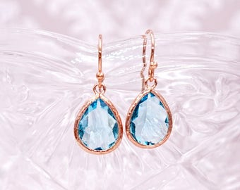 Aquamarine Blue Teardrop Earrings   Rose Gold   Simple Bridesmaid Bridal Wedding Jewerly Gifts   Something blue for her   GlitzAndLove