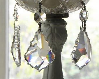 "8 Full Lead Crystal French Pendants Chandelier Lamp Parts 2""L Christmas Wedding Ornaments"