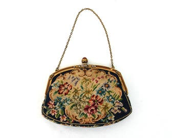 1930s purse needlepoint petit pointe embroidery floral evening bag jewel clasp enamel frame Made in Austria