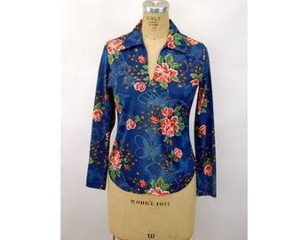 1970s shirt nylon silky blouse blue floral butterfly disco boho  Langtry Size M
