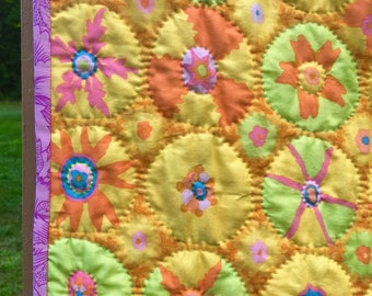 Hand quilted lap quilt, baby quilt, Kaffe Fassett quilt, yellow grey quilt, bohemian quilt, circle quilt, Suzani quilt