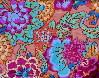 Kaffe Fassett rare, OOP, Cloisonné, orange, floral fabric, by the yard