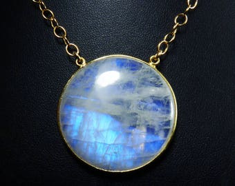 HUGE Rainbow Moonstone Necklace, LARGE Rainbow Moonstone Pendant, Vibrant Cobalt Blue and Sky Blue Fire, Gold Bezel and Luxurious Chain