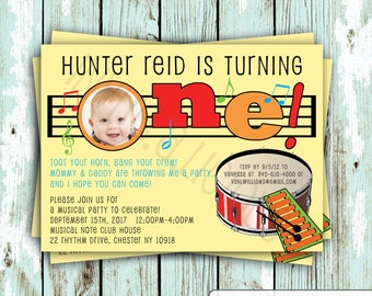 Customize this Music, Musical Note, Music Party, Instrument, Birthday, Photo Invitation, DIGITAL INVITE