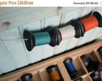 SALE Today 12 Blackened Colorful Thread Spools - Primitive 2 Inch Wooden Bobbins - Set of 12 Rustic Decor