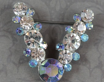 Vintage Clear and Blue Rhinestone V Letter Silver Pot Metal Brooch