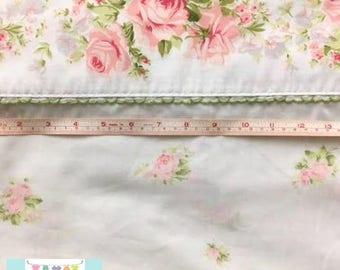 Twin Vintage Flat Sheet with Beautiful Pink Rose Border