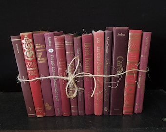 Books by the Foot  - Berry Wine Merlot - Dark Books for Decor - Vintage Book Stack - Bookshelf Decoration