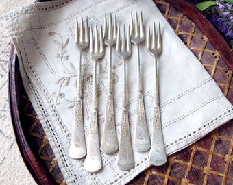 Silver Seafood Forks 1899 UNIQUE Reed & Barton Birds and Flowers Set of Six