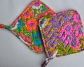 Set of Two Vintage Colorful Floral Print Pot Holders