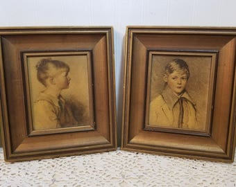 vintage Charlotte and Peter by Sidney Bell & Arthur Garrett. Classic Mid Century Children Portraits. Chippy gold frames. Shabby cottage art.