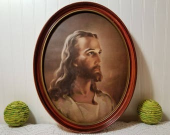 Vintage Warner Sallman Head of Christ, Larve Oval Cherry Colored Wood Frame. Classic Mid Century Religious Image of Jesus. Stunning piece.