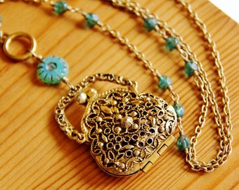 Reclaimed vintage locket pendant necklace, pouch pendant, locket necklace, pouch necklace, recycled jewelry, upcycled jewelry, boho necklace