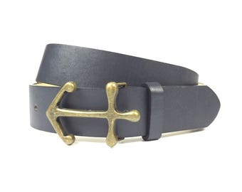 Vintage Navy Metal Anchor Buckle Belt