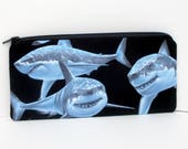 Zippered Pencil Pouch, Great White Sharks, Black Zipper Bag