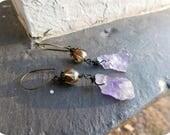 Lilac Sunset. Rough Raw Amethyst & aurora crystal sphere boho earrings.