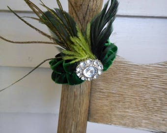 The Lady Olwen Fascinator Flapper wrist cuff. osfa Forest green Velvet. Lime Ostrich & Emerald Green Rooster Feathers, Rhinestone Button