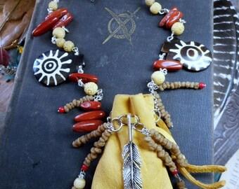 SALE Doctor Bird Medicine Man Necklace & Bracelet. Tribal Leather Shaman Pouch African Myrrh  Carved Bone Red Jasper Feather charm Talisman