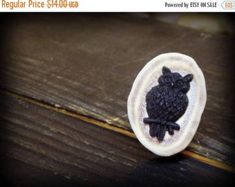 SALE MERLIN // . Deer antler Slice and Black owl Adjustable Rustic Woodland Fauna Cocktail Dark Gothic Taxidermy Handmade Hand Crafted ring