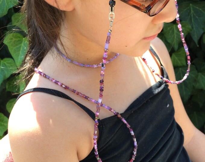 Purple Beaded Eyeglass Holder