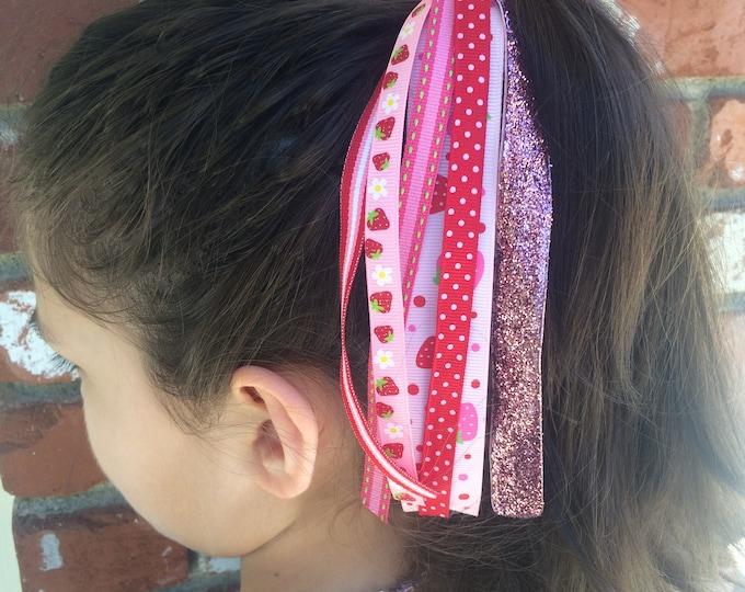 Pink Strawberry Pony O Hair Tie, Hair Streamers