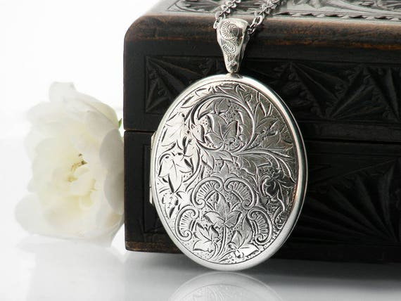 Sterling Silver Vintage Locket | Danecraft Locket Necklace | Large Oval Victorian Revival Locket | Double Photo Locket - 34 Inch Long Chain