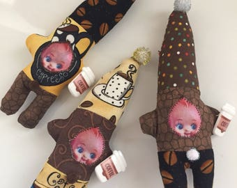 Coffee break gnome kewpie doll ornaments coffee espresso and coffee beans