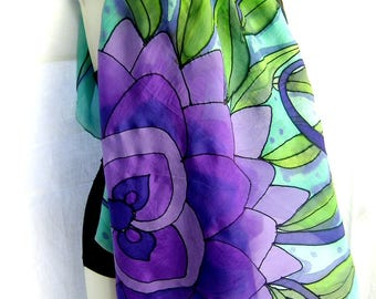 "Hand Painted Silk Scarf, Floral Silk Scarf, Purple Green Light Turquoise, 35"" Square Silk Scarf, Gift For Her"