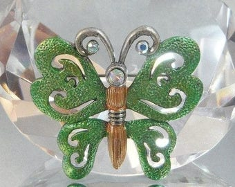 SALE Vintage Green Butterfly Brooch.  Green Pewter Butterfly Pin with Rhinestones