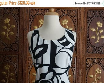 ON SALE LAUREL Black & White Bold Geometric and Floral Print Dress Sz 8