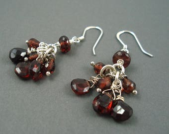 Garnet Gemstone Earrings with Sterling Silver, Cluster of Brios on Sterling Silver Shepherds Hook Wires