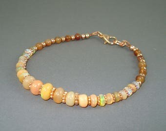 Opal Bracelet, Ethiopian Fire Opals, Rose Gold Beads and Clasp, Dark Honey Colored Opal Bracelet, Fire Opal Jewelry