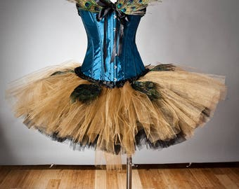 Custom Size turquoise gold and Black burlesque corset tutu feather prom dress available in sizes small to XL