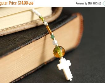 SUMMER SALE Green and Amber Bookmark. Christian Bookmark. White Shell Cross Bookmark. Beaded Book Thong. Handmade Bookmark. Christian Cross