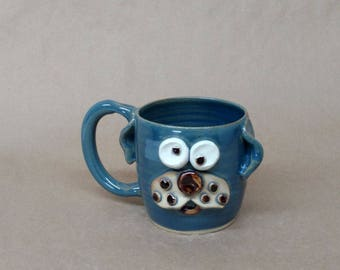 Animal Lover Gift. Cute Dog Coffee Mug in Speckled Blue. Microwave and Dishwasher Safe Stoneware Pottery by Nelson Studio. Everyday Tea Mug.