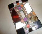 MOSAIC Light Switch Plate -  Single Switch, Wall Art, Wall Plate, Black, White, Brown, Silver