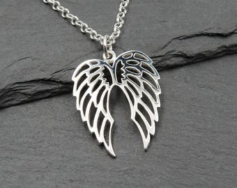 Angel Wing Necklace - 925 Sterling Silver angel wings necklace, christian gifts, silver wing
