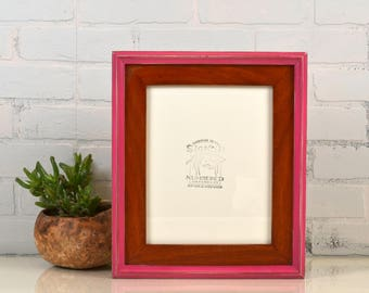 8x10 Picture Frame in Build Up Style with Vintage Wood Tone and Cerise Pink Finish - Same Day Shipping - Handmade Classic 8 x 10 Frame