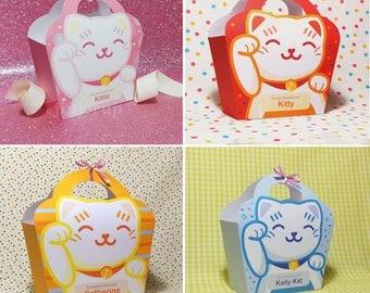 Kawaii Cute Lucky Cat Manekineko Pink Red Blue Yellow Treat Basket EDITABLE Printable PDF offer