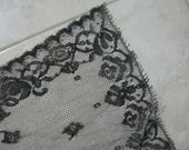 Antique Vintage Chantilly Lace Veil Scarf Mourning Cotton