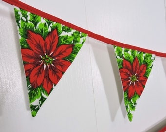 Christmas Bunting Flags / Poinsettia Flower Bunting Flags / XMas Pennant Flags