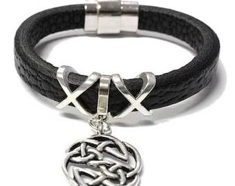 Jewelry On Sale Celtic Knot Leather Bracelet -  choose your wrist size - unisex bracelet - black embossed licorice leather - magnetic clasp