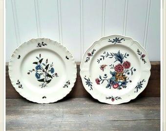 French Farmhouse China Plates (2) Wedgewood Potpourri of Eturia & Barlastons Beautiful Wall Decor